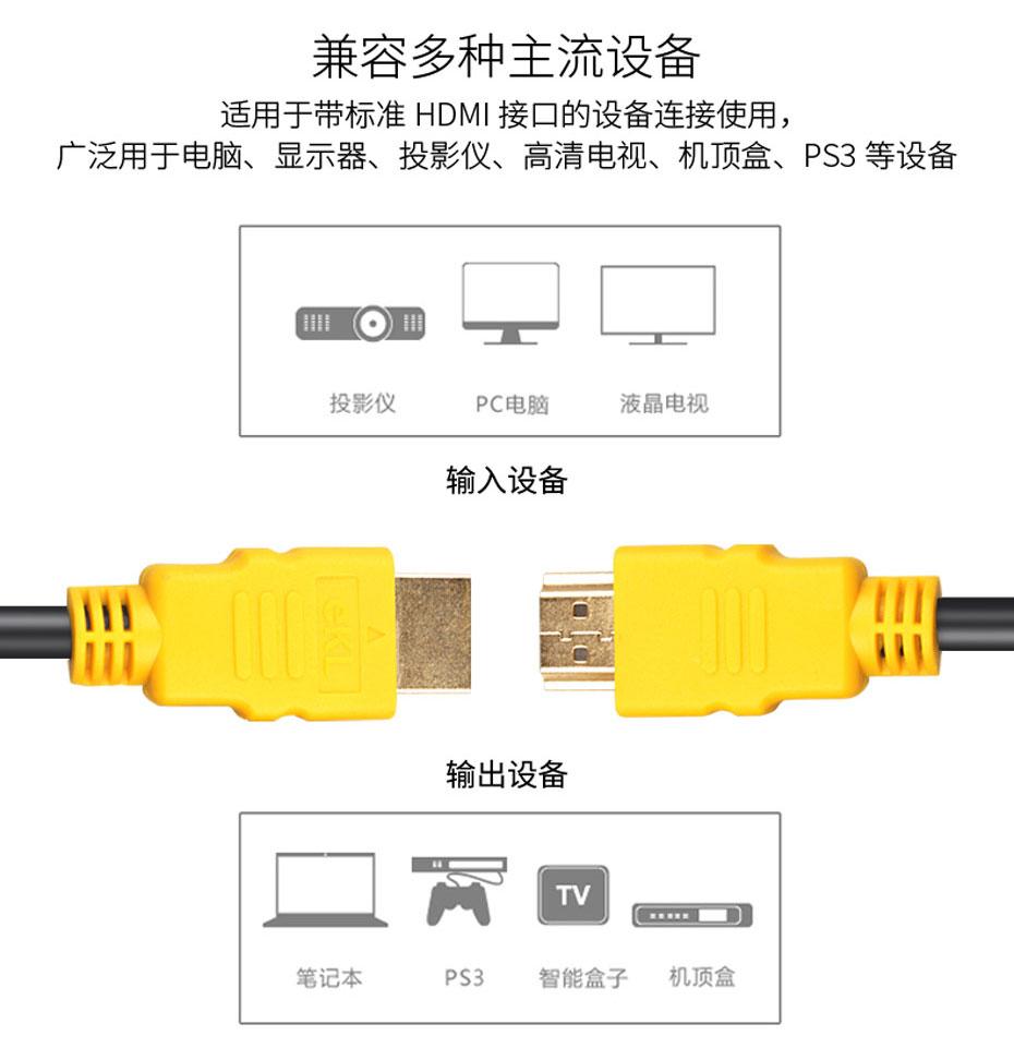 标准19芯HDMI线兼容多种hdmi接口主流设备