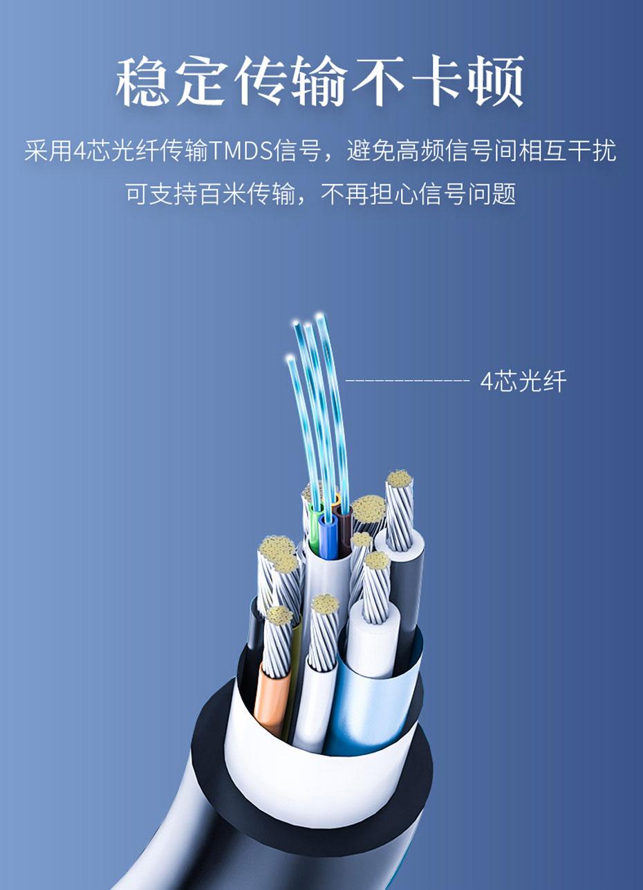 hdmi2.0光纤线采用4芯光纤传输TMDS信号,稳定不卡顿