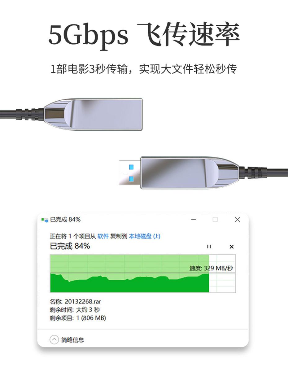USB3.0光纤线两边均是3.0接口,快速传输大文件