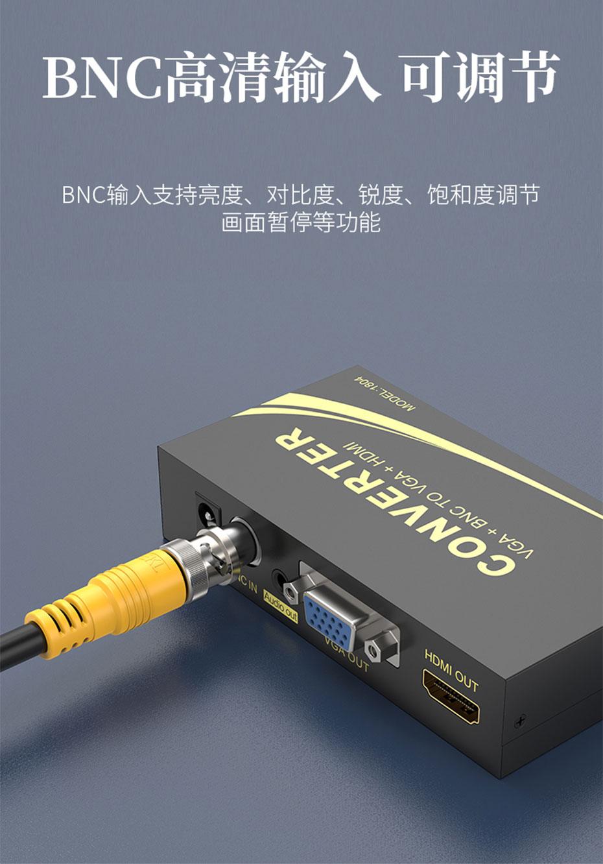 VGA/BNC转VGA/HDMI转换器1804连接使用示意图