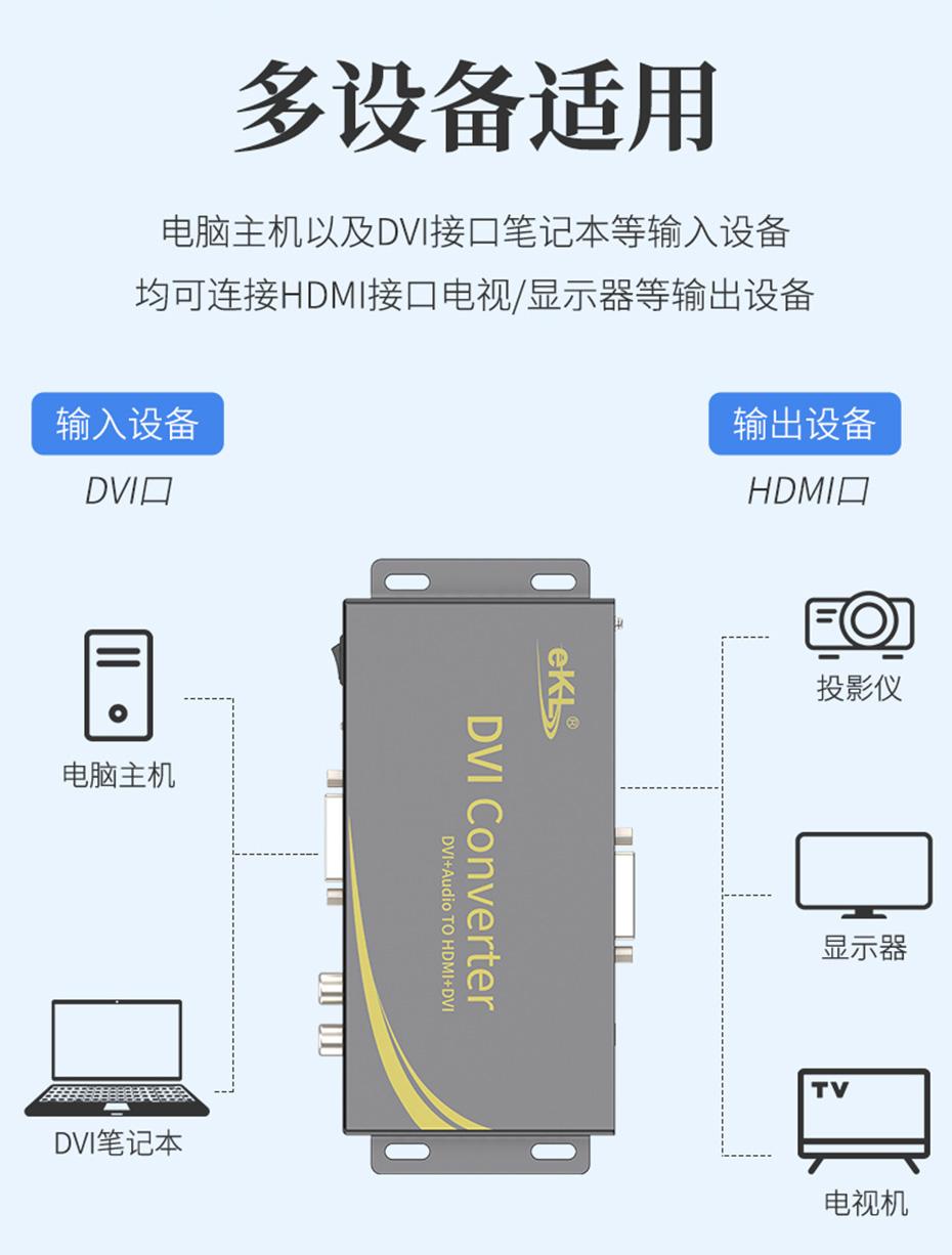 DVI转HDMI转换器DHA兼容HDMI接口设备