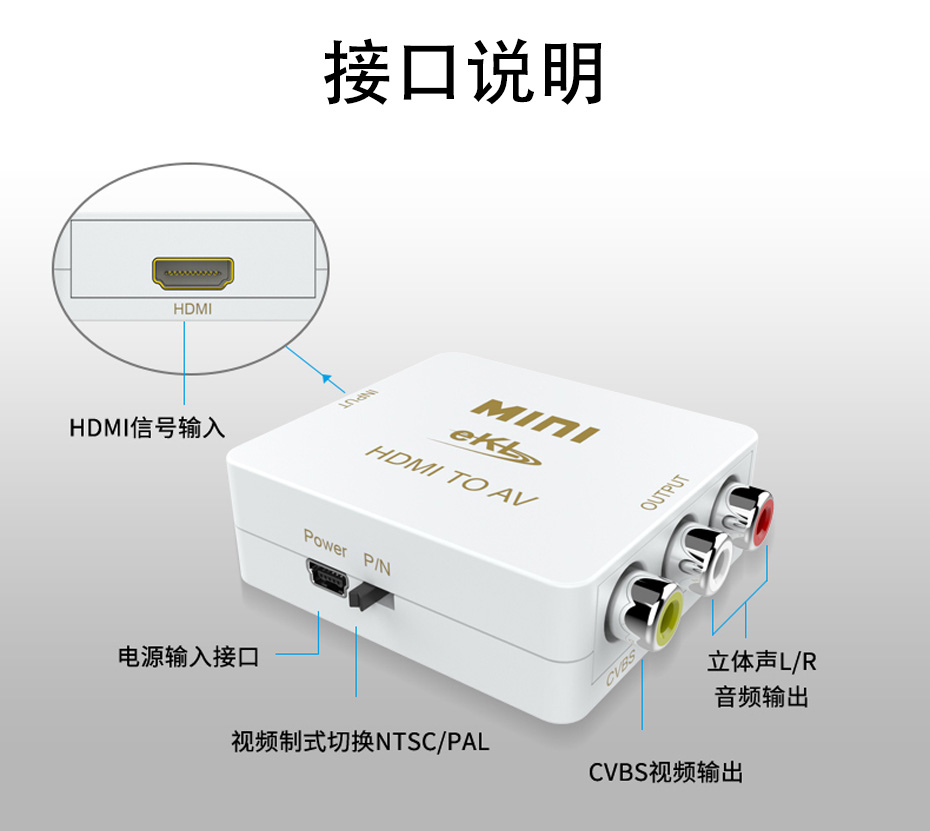 HDMI转AV转换器MiniHAV接口说明
