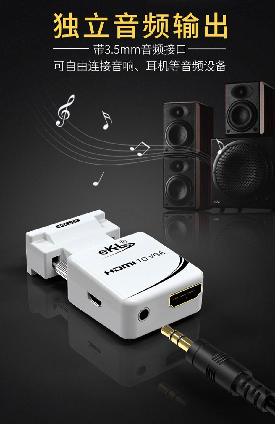 迷你HDMI转VGA转换器MiniHV使用3.5mm独立音频输出