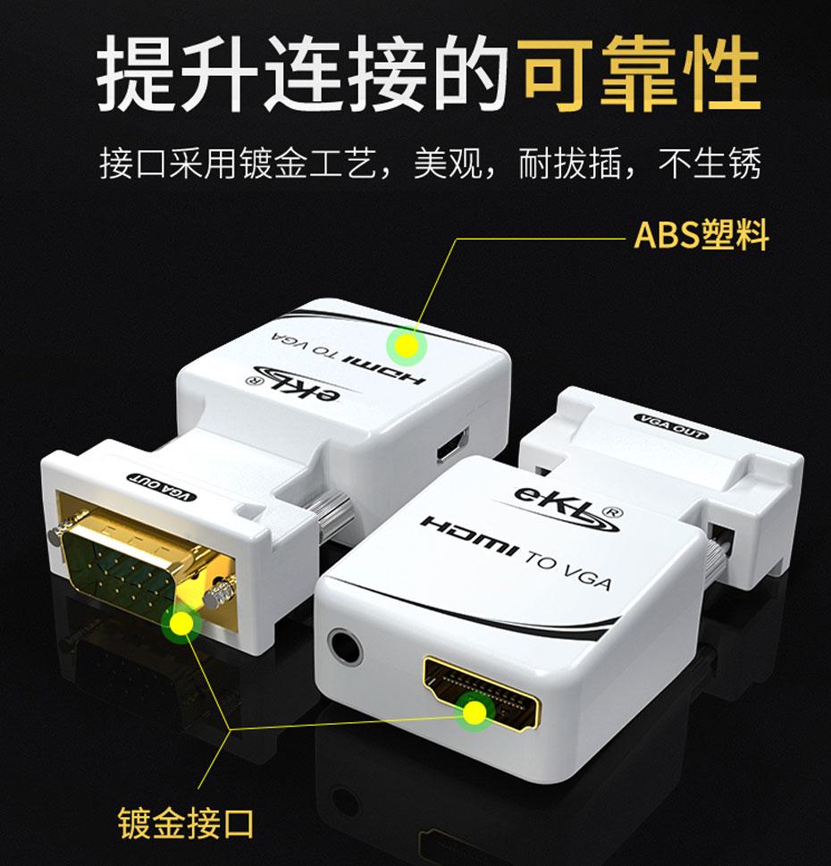 迷你HDMI转VGA转换器MiniHV使用镀金接口