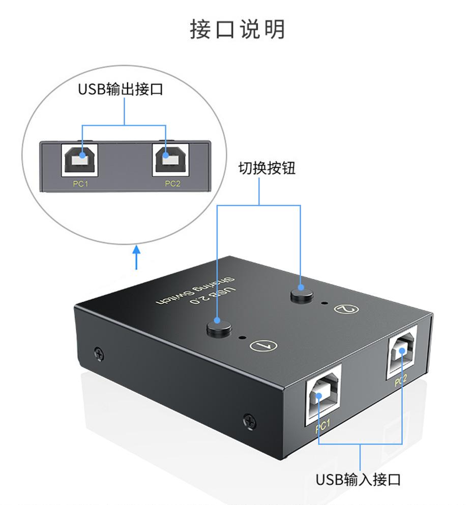 2口USB打印机共享器02U接口说明