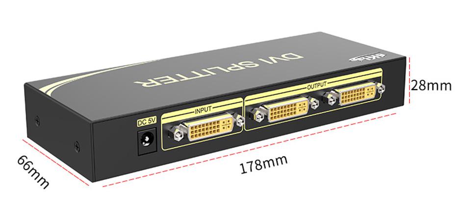 DVI分配器1进2出102D长178mm;宽66mm;高28mm