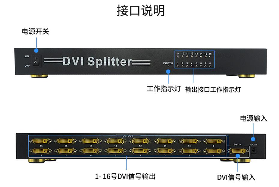 工程专供【DVI分配器一进十六出/1进16出/1分16】161D连接使用示意图