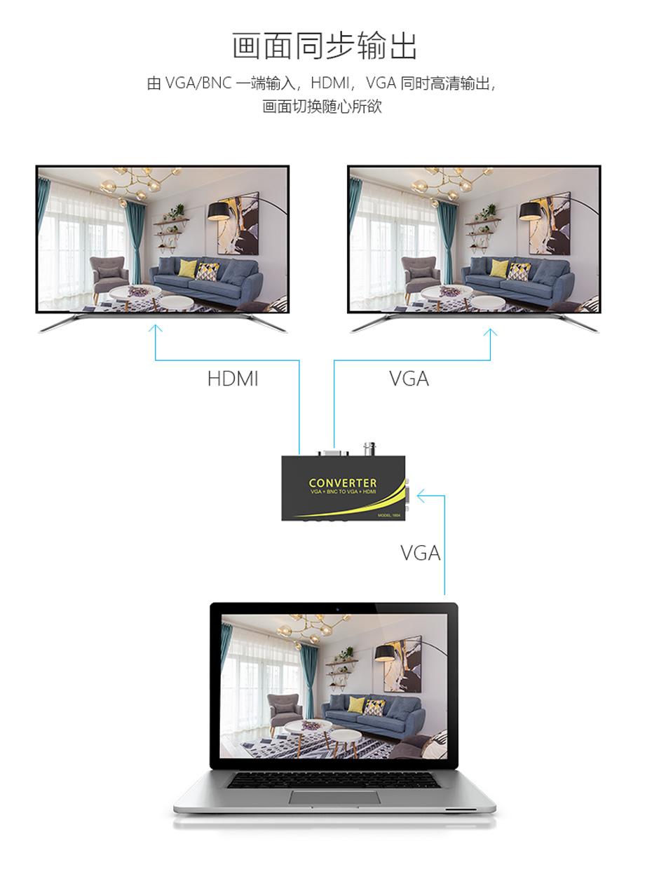1路VGA/BNC转1路HDMI+1路VGA连接使用示意图
