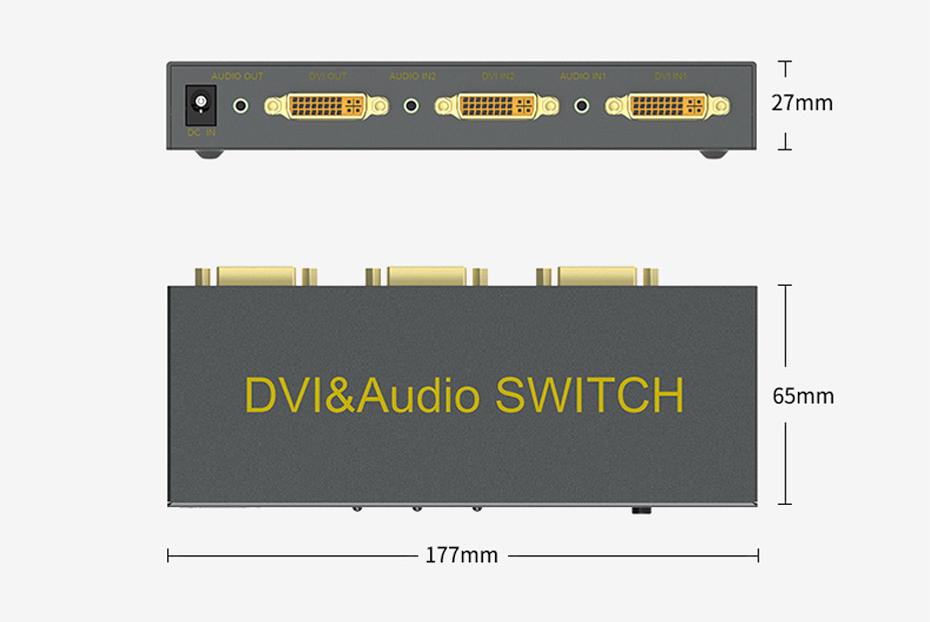DVI切换器2进1出21D长177mm;宽65mm;高27mm