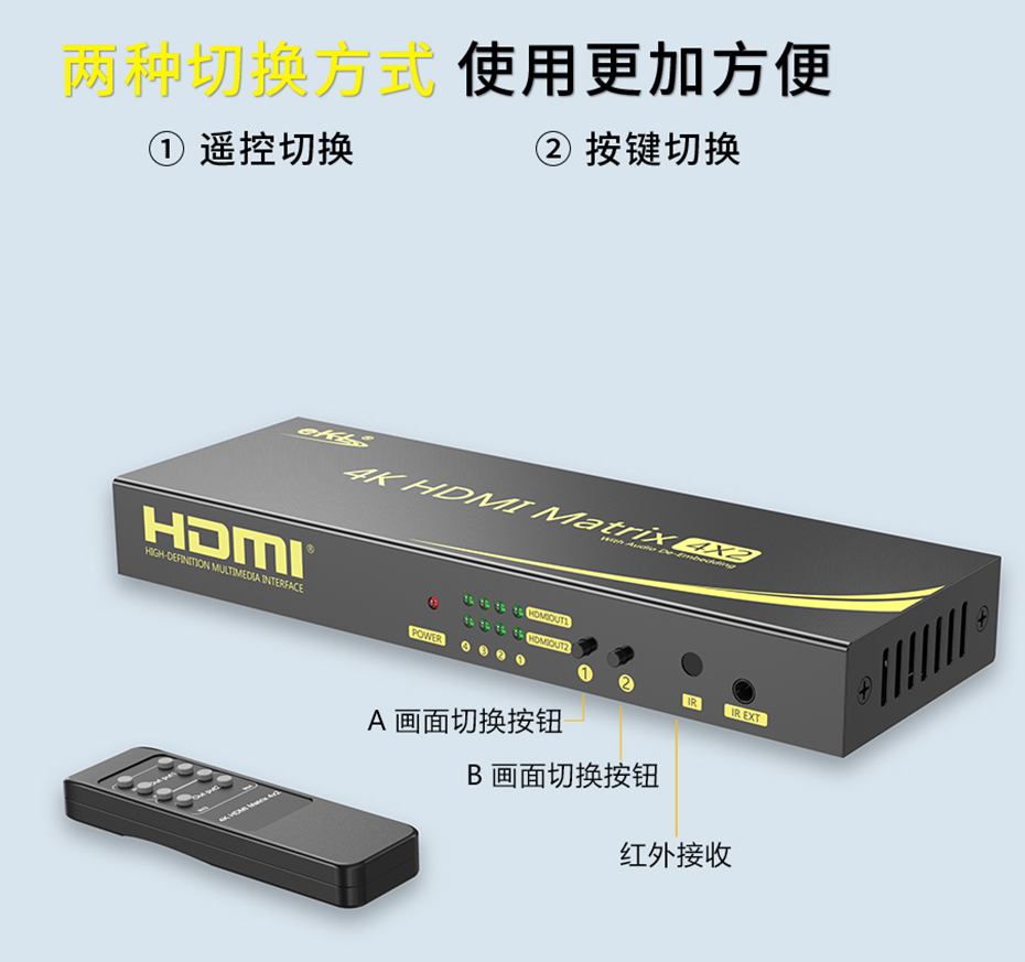 HDMI矩阵4进2出412H控制面板使用说明