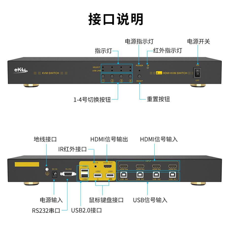 HDMI KVM切换器4进1出41HK接口说明