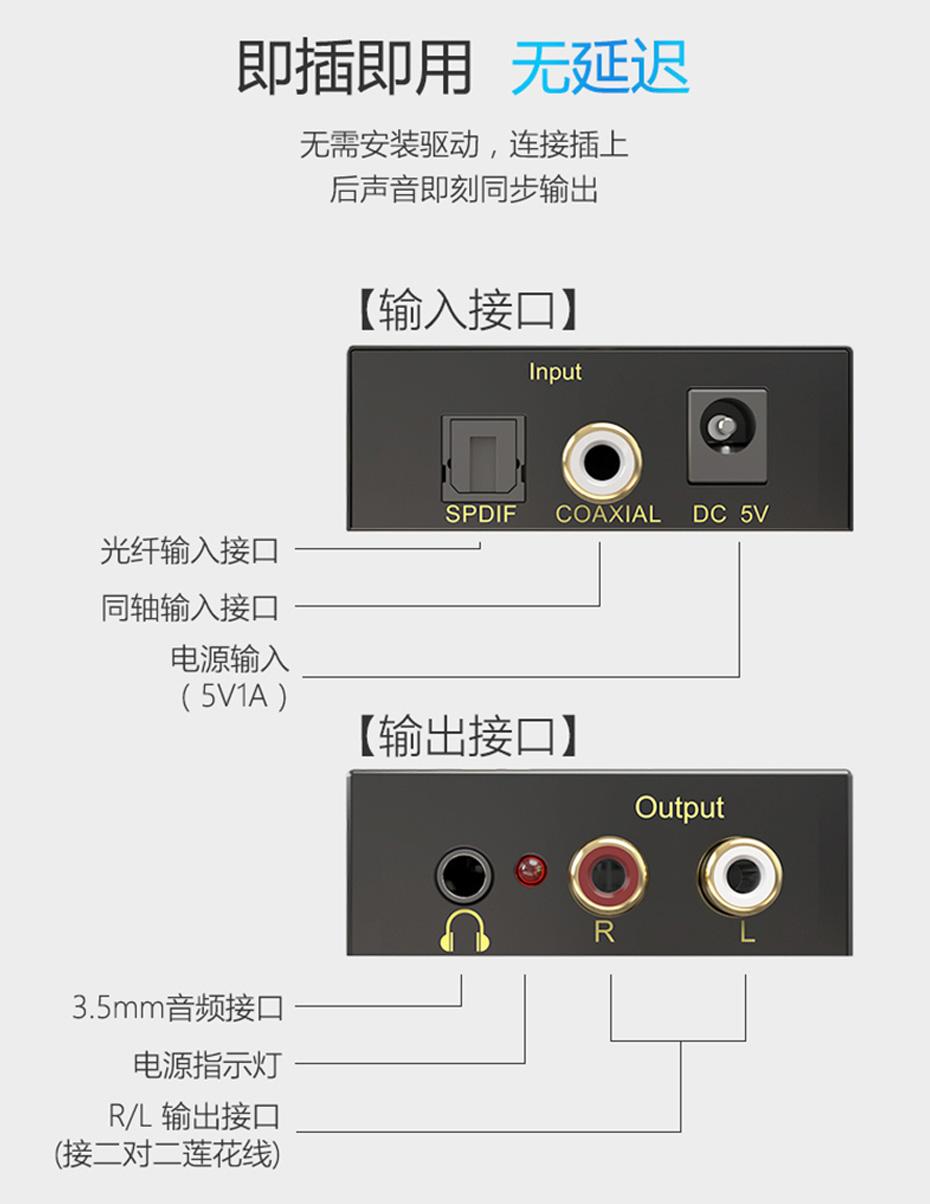 SPDIF数字光纤同轴音频转换器DAN接口说明