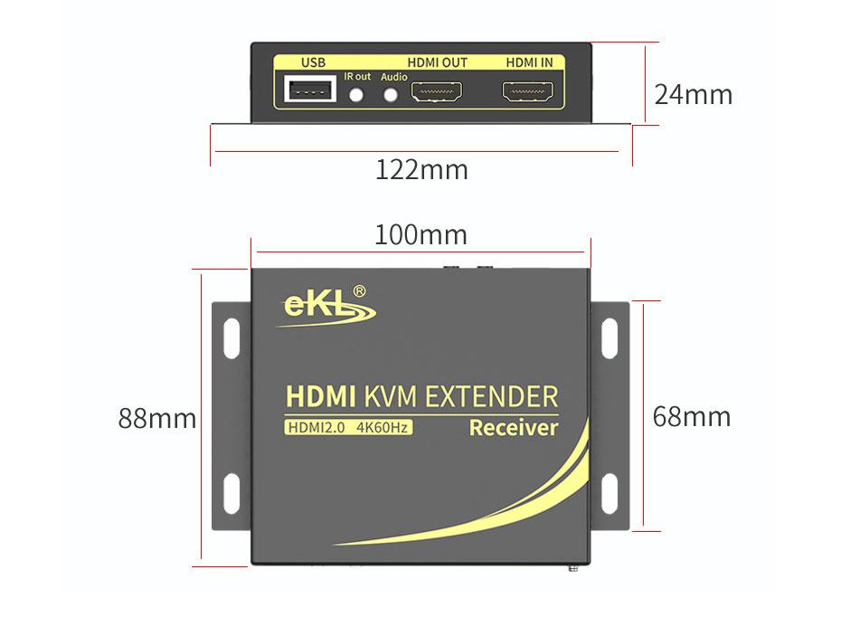HDMI KVM网线延长器4K100米HCK100接收端长:122mm;宽:88mm;高:24mm