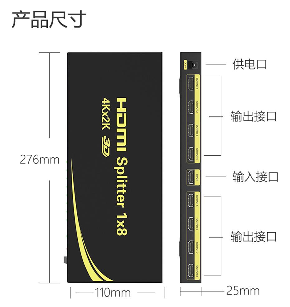 HDMI分配器1进8出HD108接口说明与尺寸