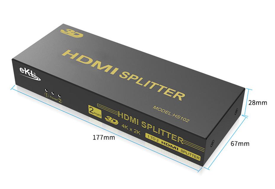 一进二出HDMI分配器HS102长177mm;宽67mm;高28mm