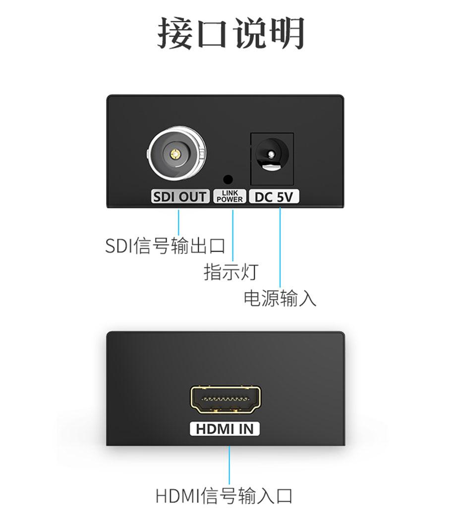 HDMI转SDI转换器HSD-1接口说明