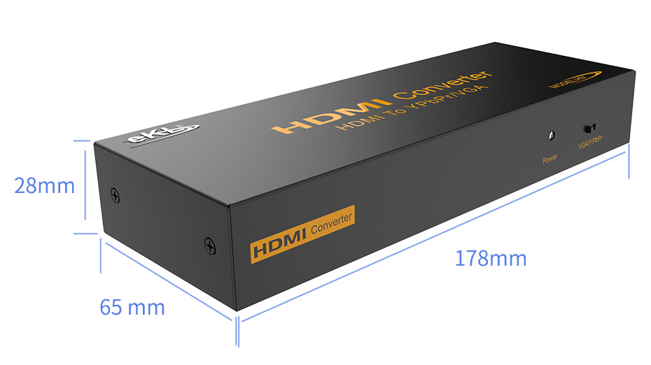 HDMI转色差分量YPbPr/VGA转换器HV长:178mm;宽:65mm;高:28mm