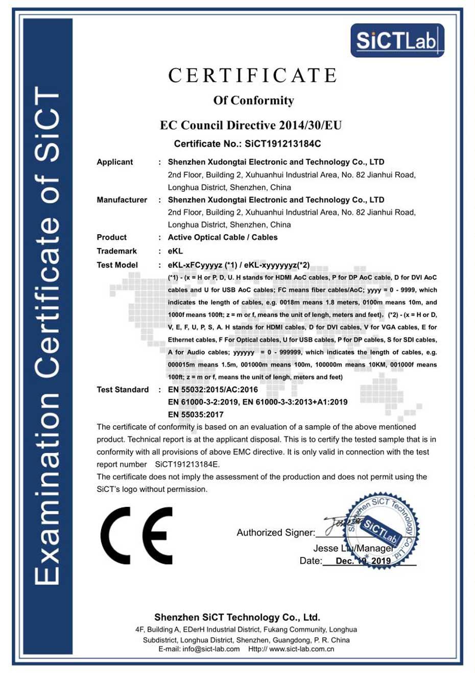 HDMI2.0光纤线检测报告-CE证书