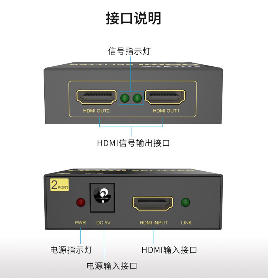 HDMI一分二分配器MiniHS102-B接口说明