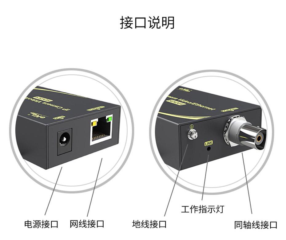 500米IP同轴延长器NCR500接口说明