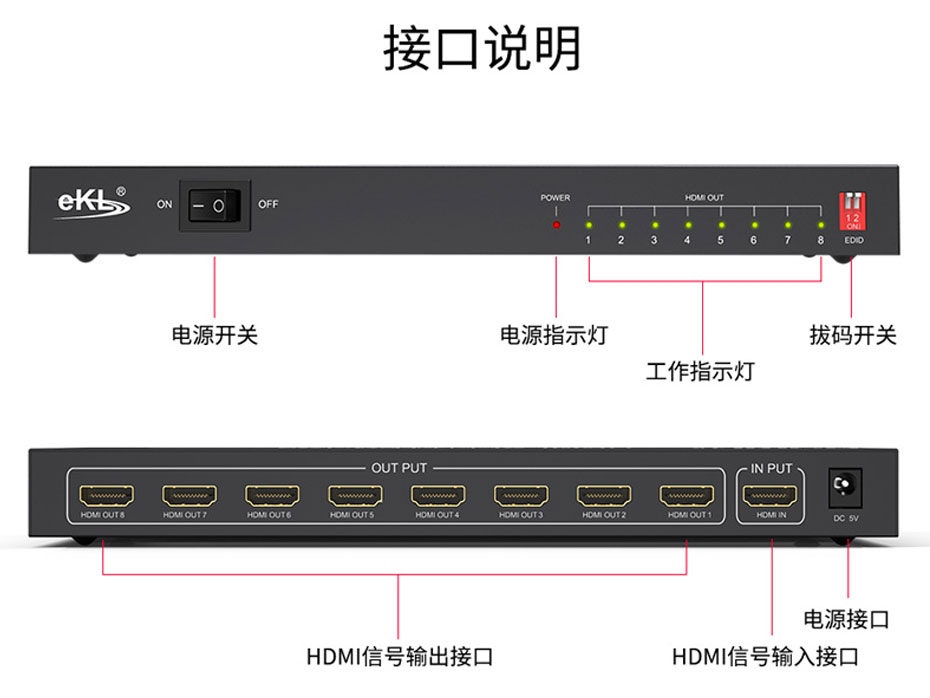 HDMI2.0分配器一进八出UH08接口说明