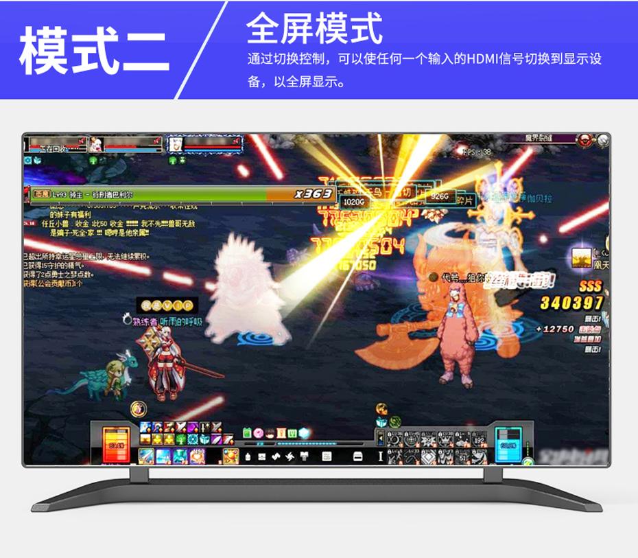 HDMI四画面分割器VS04模式二 全屏模式