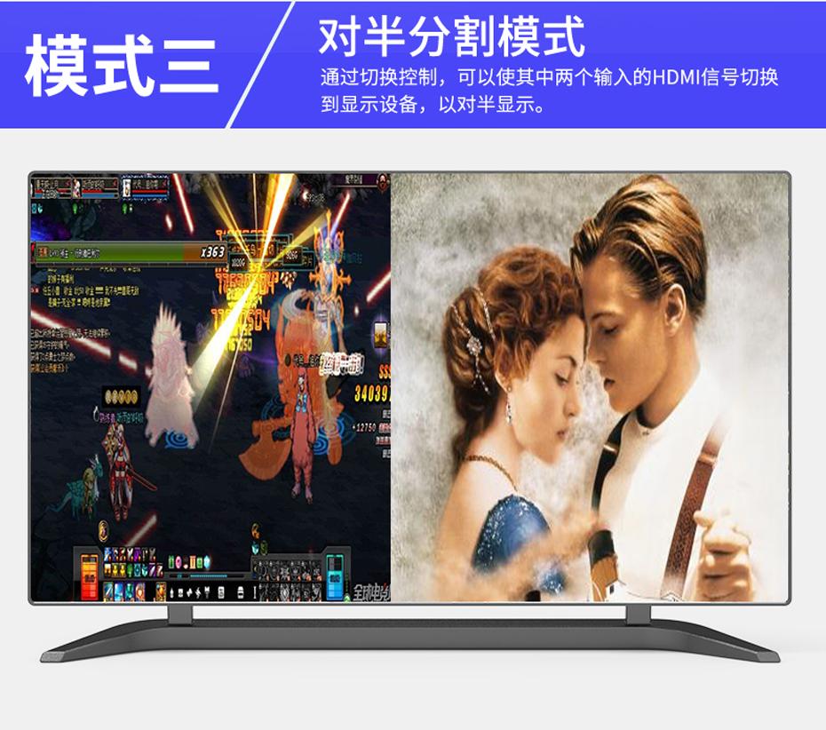 HDMI四画面分割器VS04模式三 对半分割模式