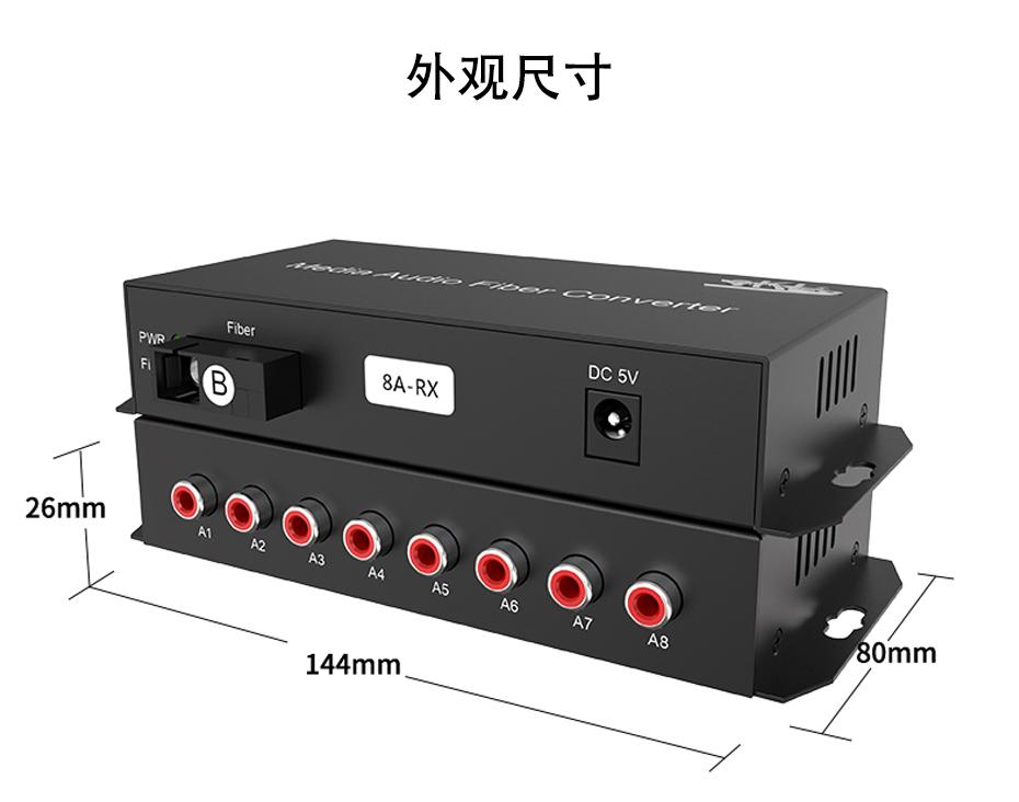 20千米8路单向音频光端机8ZA长144mm;宽80mm;高26mm