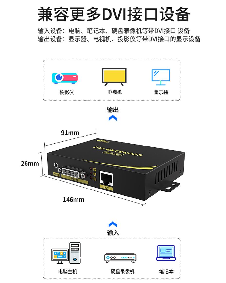 音视频同步DVI单网线延长器DE200兼容DVI接口设备
