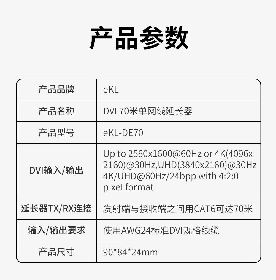 70米DVI网线延长器DE70接口说明