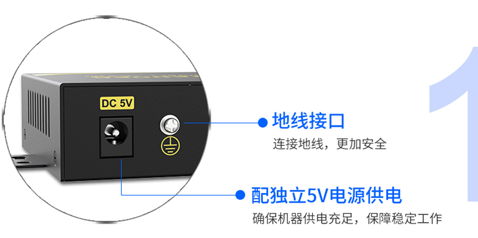 视频光端机DF200采用独立地线+独立电源供电设计