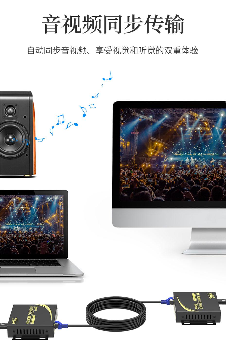 HDMI单网线延长器4K100米HC100支持音频和视频同步传输