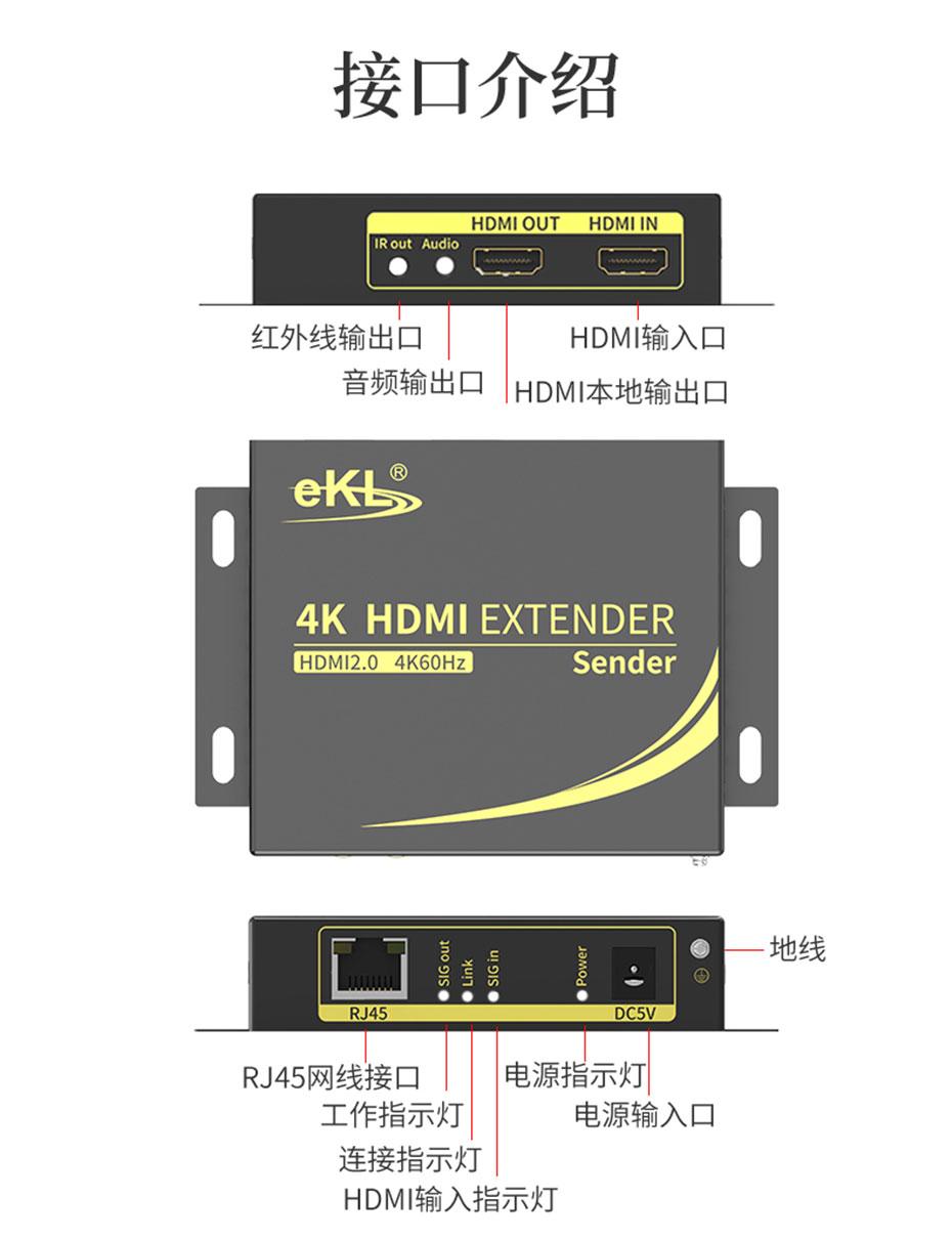 HDMI单网线延长器4K100米HC100发射端接口介绍