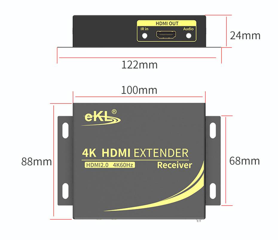 HDMI单网线延长器4K100米HC100接收端长:122mm;宽:88mm;高:24mm