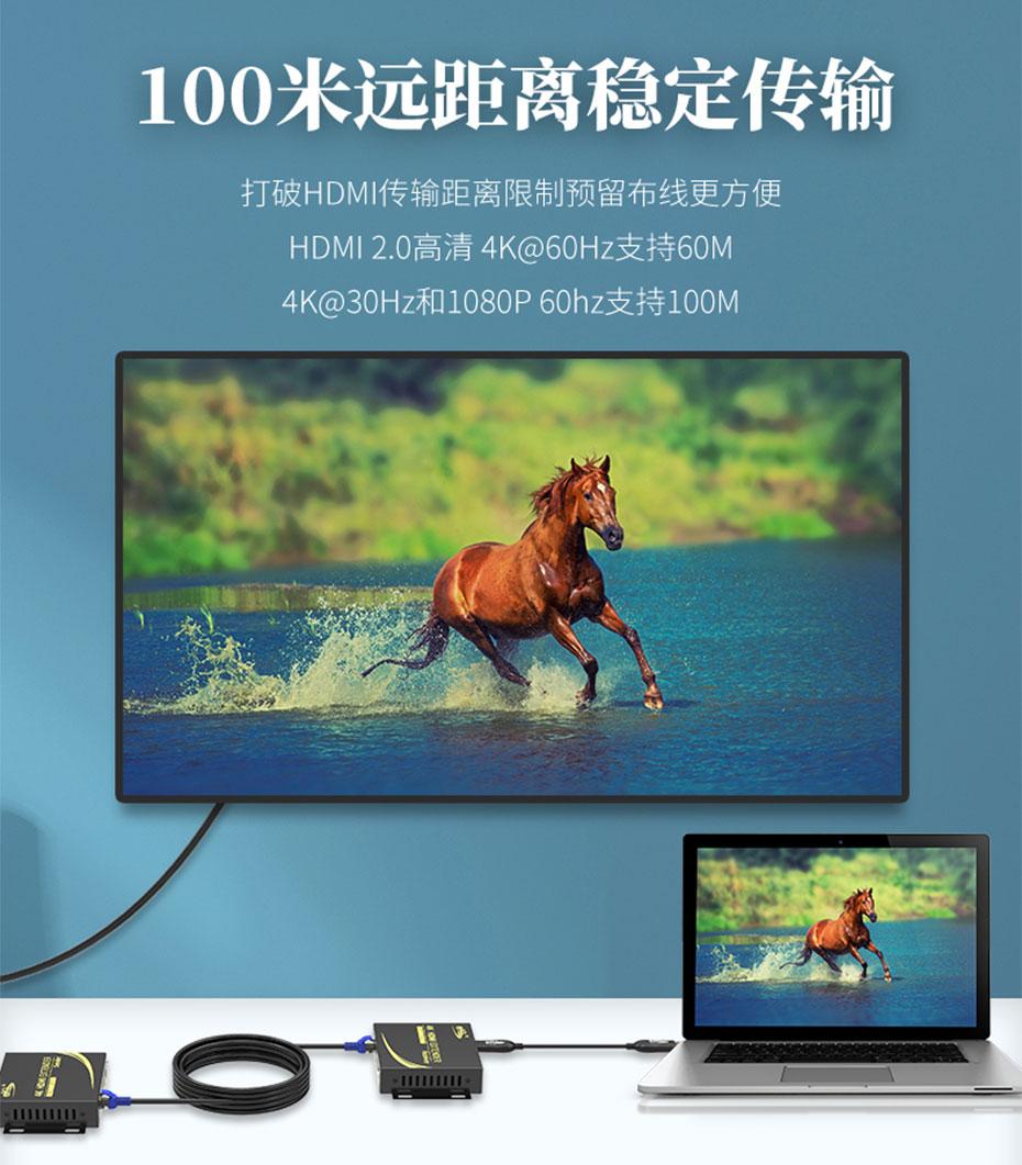HDMI KVM延长器4K100米HCK100 4K@60Hz分辨率延长60米;4K@30Hz与1080p@60H分辨率延长100米