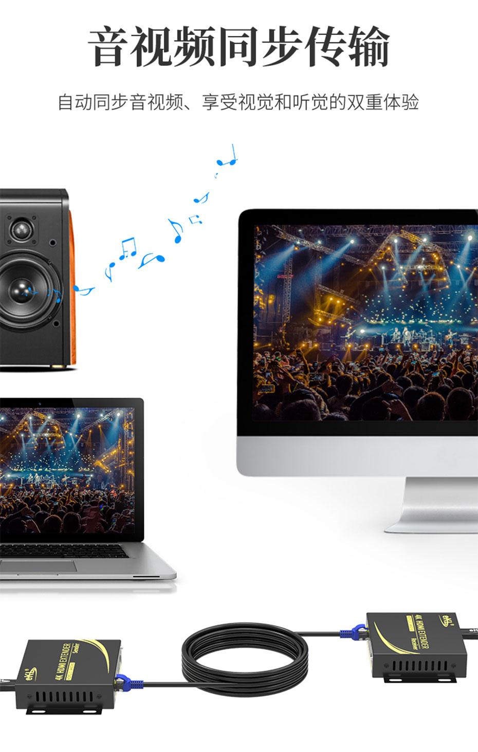 HDMI KVM延长器4K100米HCK100音频和视频同步传输