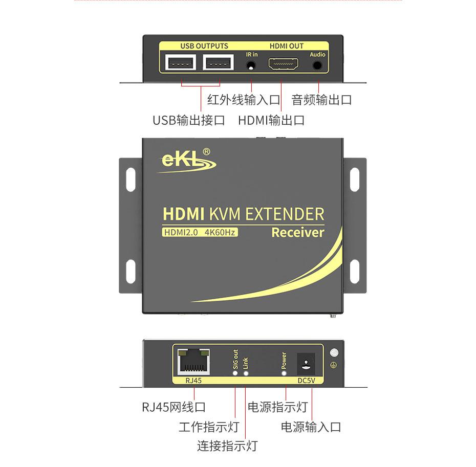 HDMI KVM延长器4K100米HCK100接收端接口说明