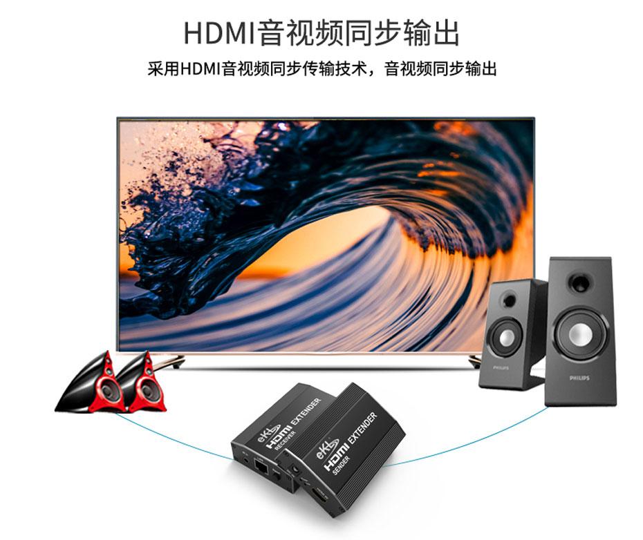 120米HDMI单网线延长器HE120支持音视频同步传输