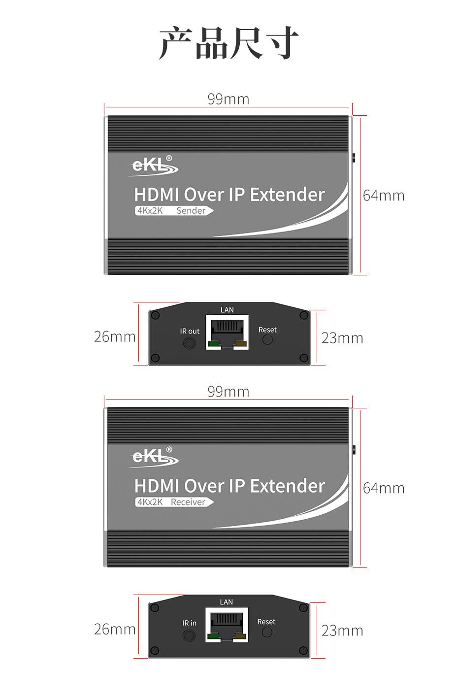 150米HDMI网线延长器1对1/1对多HE200长99mm 宽64mm 高26mm