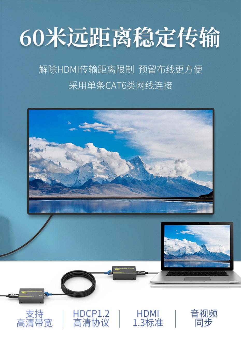 60米HDMI单网线延长器HE60连接使用示意图