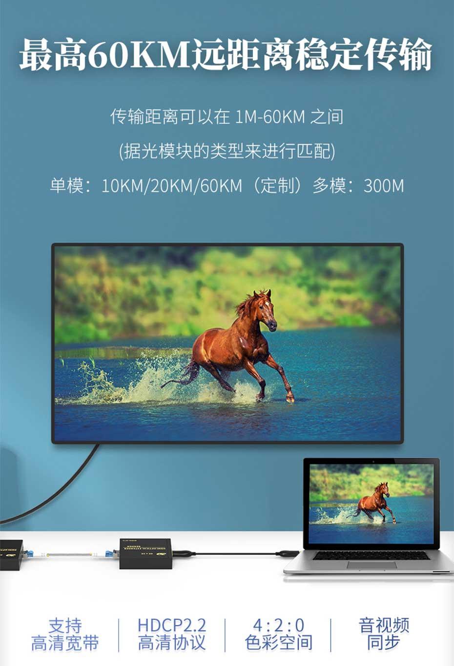 HDMI多模光纤延长器HF10最高支持60公里延长