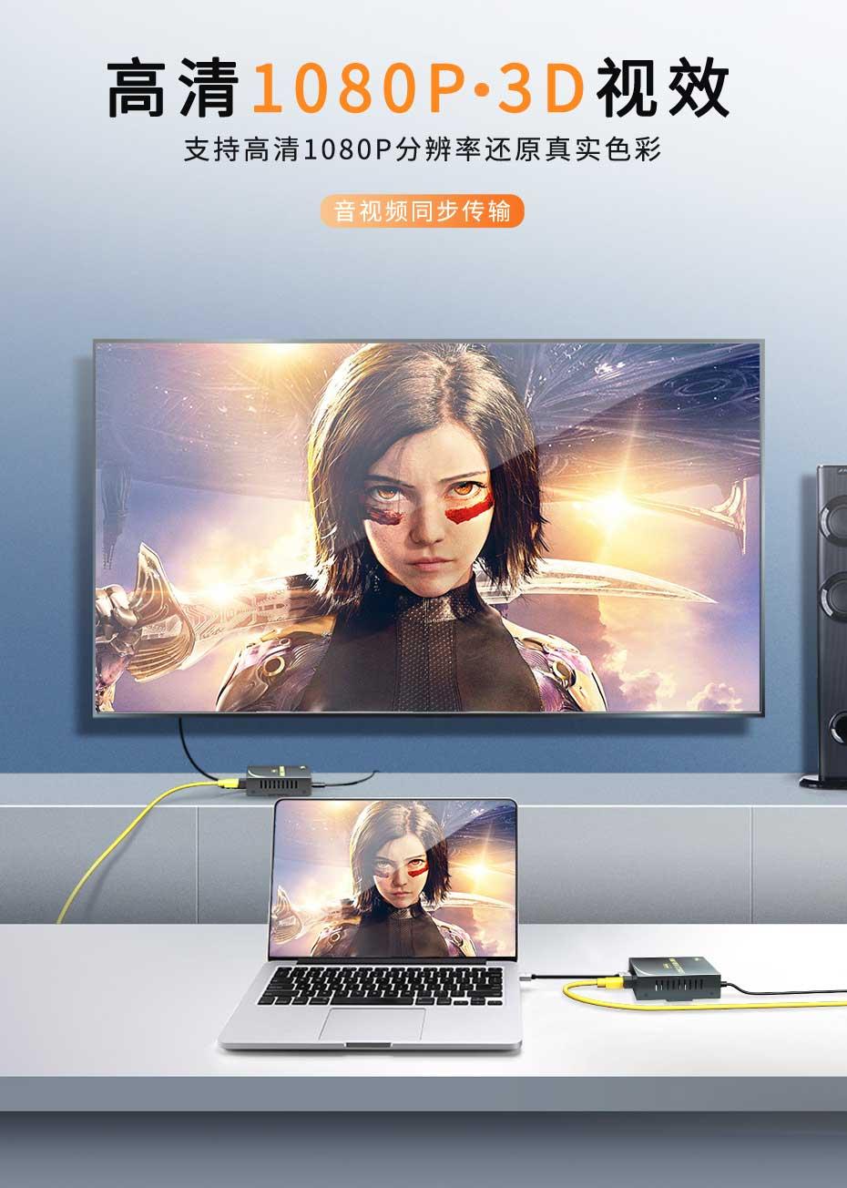 20千米单模单纤HDMI光纤延长器HF200支持高清1080p~3D视效