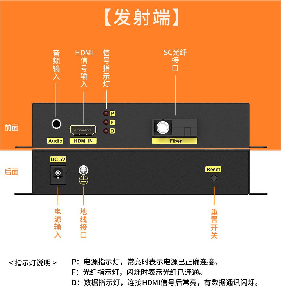 20千米单模单纤HDMI光纤延长器HF200发射端接口介绍
