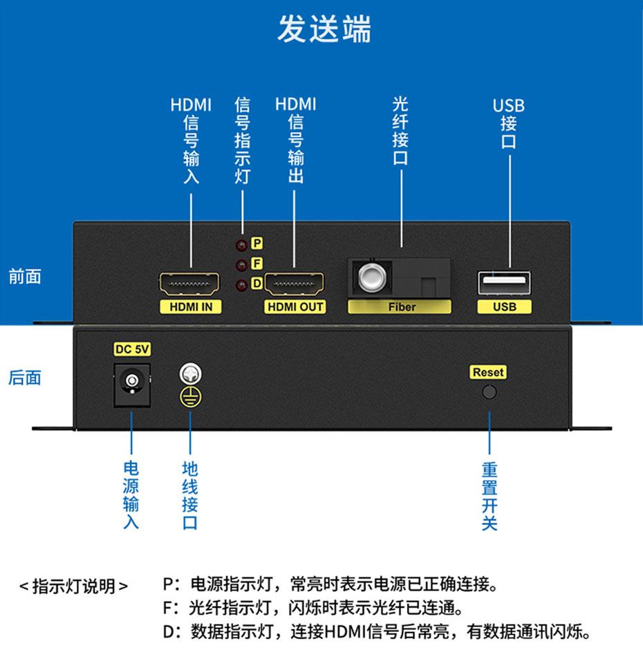 20千米HDMI KVM光纤延长器HFKU200发射端接口说明