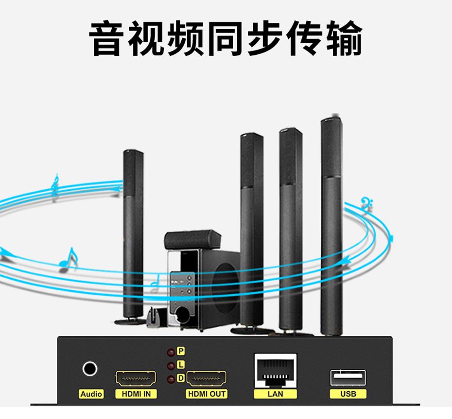 200米HDMI KVM网络延长器HKU200支持音视频同步传输