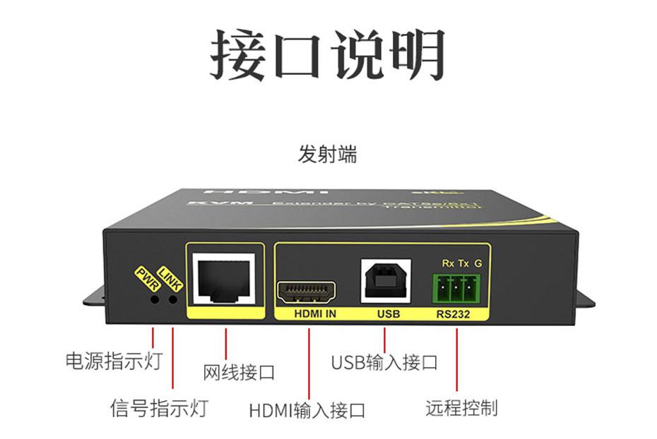 HDMI KVM网络延长器HU100发射端接口说明