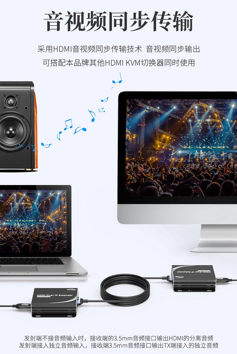 HDMI KVM延长器1对多/多对多HU150支持音视频同步传输