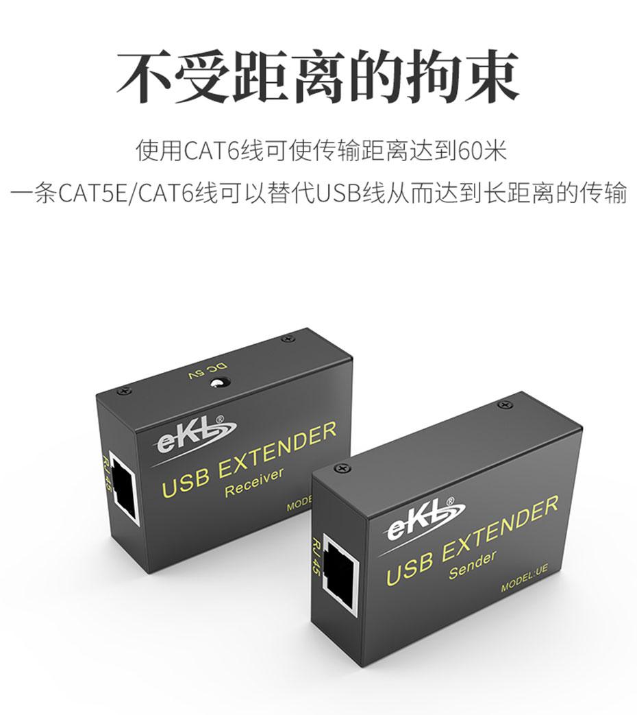 USB鼠标键盘延长器UE使用CAT6网线可将USB信号延长60米