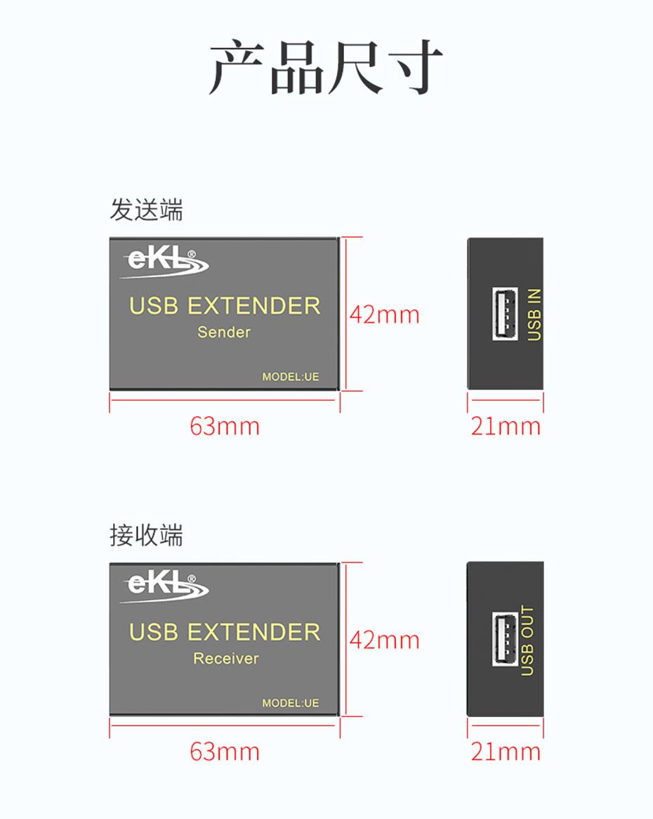 USB鼠标键盘延长器UE长:63mm;宽:42mm;高:21mm