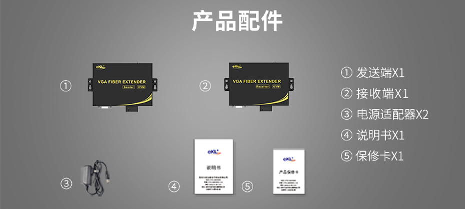 20千米VGA光端机VF200标准配件